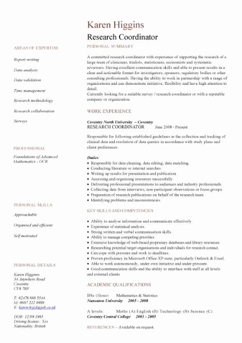 Sample Academic Curriculum Vitae Elegant Academic Resume Template