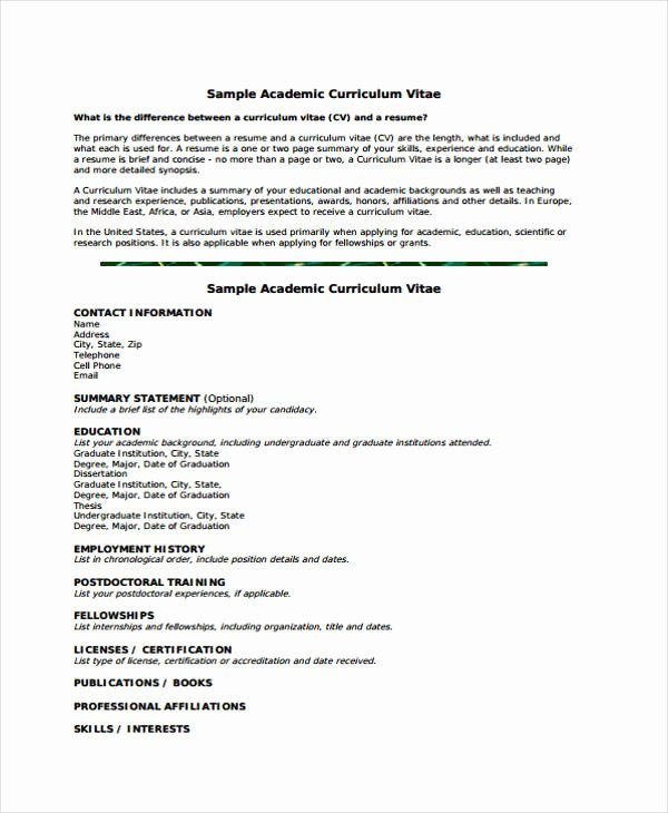 Sample Academic Curriculum Vitae Fresh 11 Academic Curriculum Vitae Templates Pdf Doc