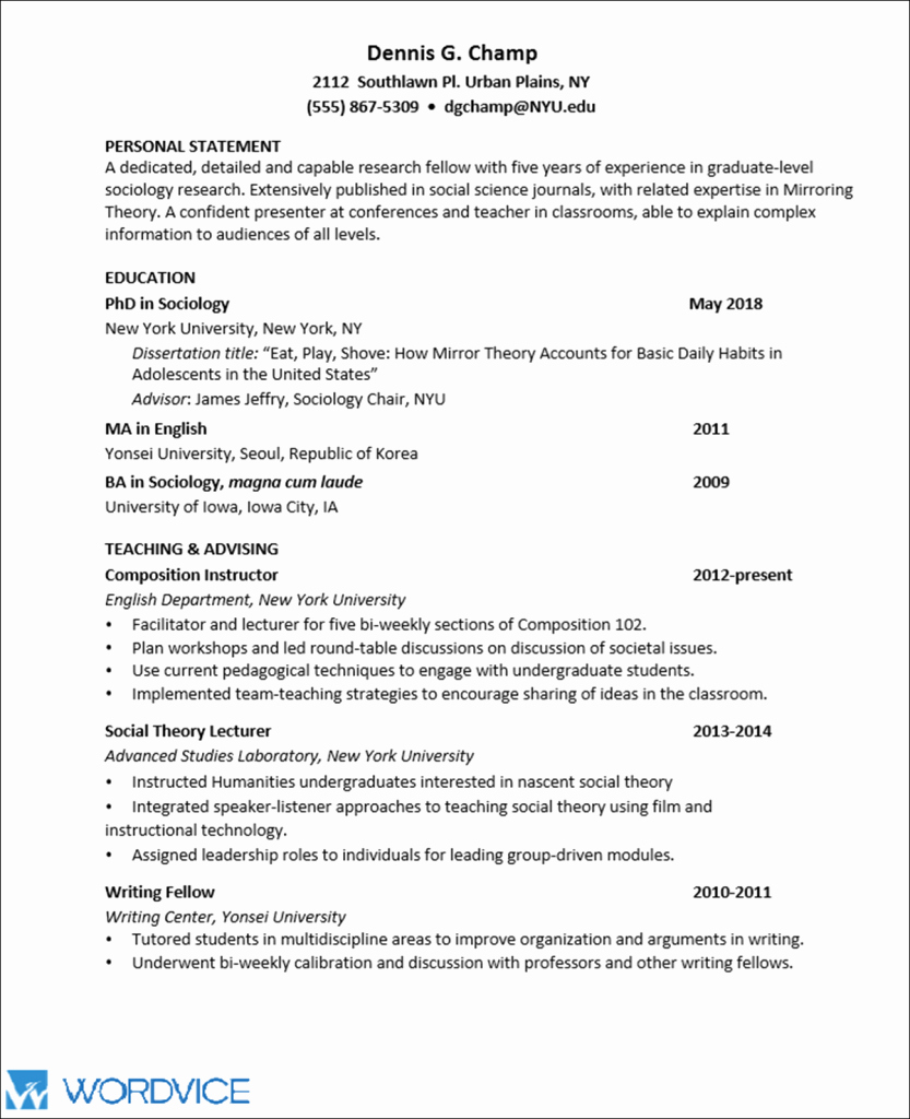 Sample Academic Curriculum Vitae Luxury Sample Graduate Cv for Academic and Research Positions