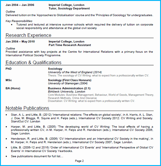 Sample Academic Curriculum Vitae New Academic Cv Example Cv Writing Guide [get Noticed and