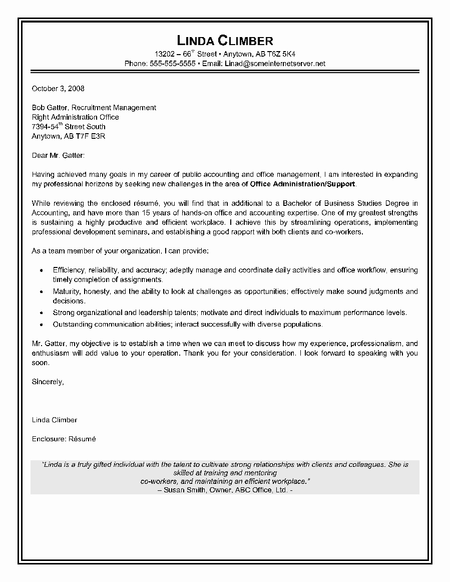 Sample Administrative assistant Cover Letter Awesome Administrative assistant Cover Letter Canadian Resume