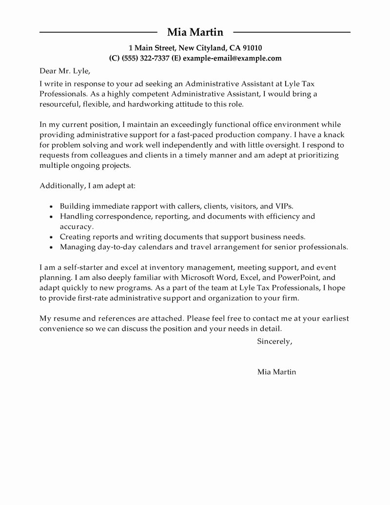 Sample Administrative assistant Cover Letter Beautiful Best Administrative assistant Cover Letter Examples