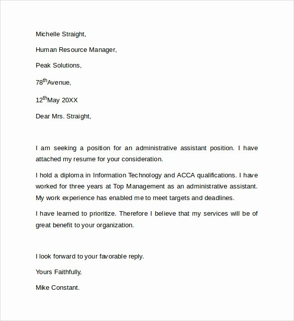 Sample Administrative assistant Cover Letter Beautiful Sample Administrative assistant Cover Letter Template 8