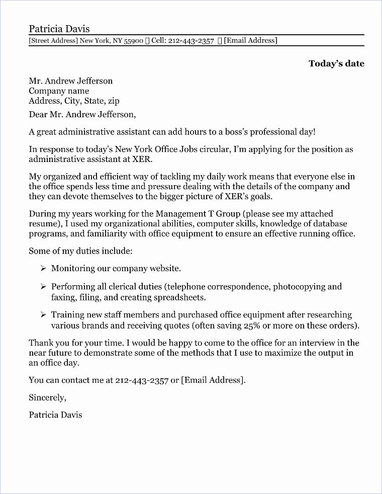 Sample Administrative assistant Cover Letter Fresh Administrative assistant Cover Letter Sample