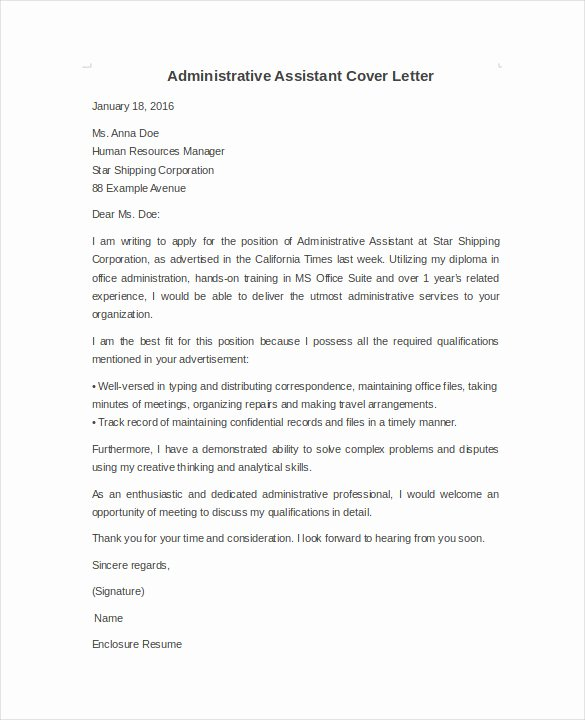 Sample Administrative assistant Cover Letter Luxury Cover Letter University Administrative assistant Susan