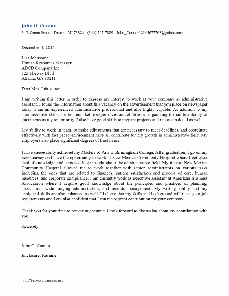 Sample Administrative assistant Cover Letter New Administrative assistant Cover Letter