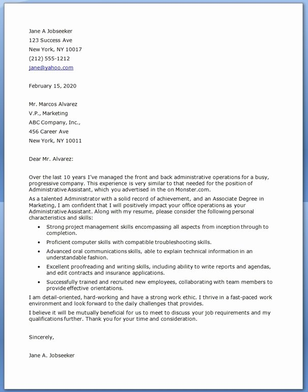Sample Administrative Cover Letter Fresh Administrative assistant Cover Letter Examples