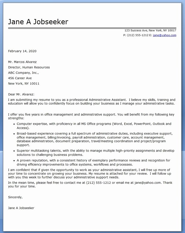 Sample Administrative Cover Letter Inspirational Administrative assistant Cover Letter Sample