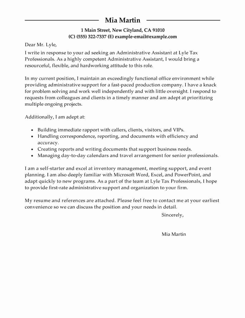 Sample Administrative Cover Letter Inspirational Best Administrative assistant Cover Letter Examples