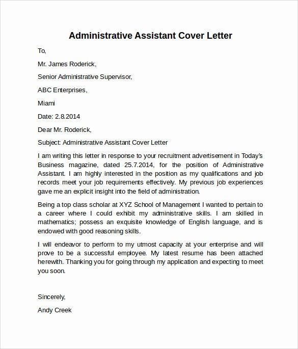 Sample Administrative Cover Letter Lovely Administrative assistant Cover Letter 9 Free Samples