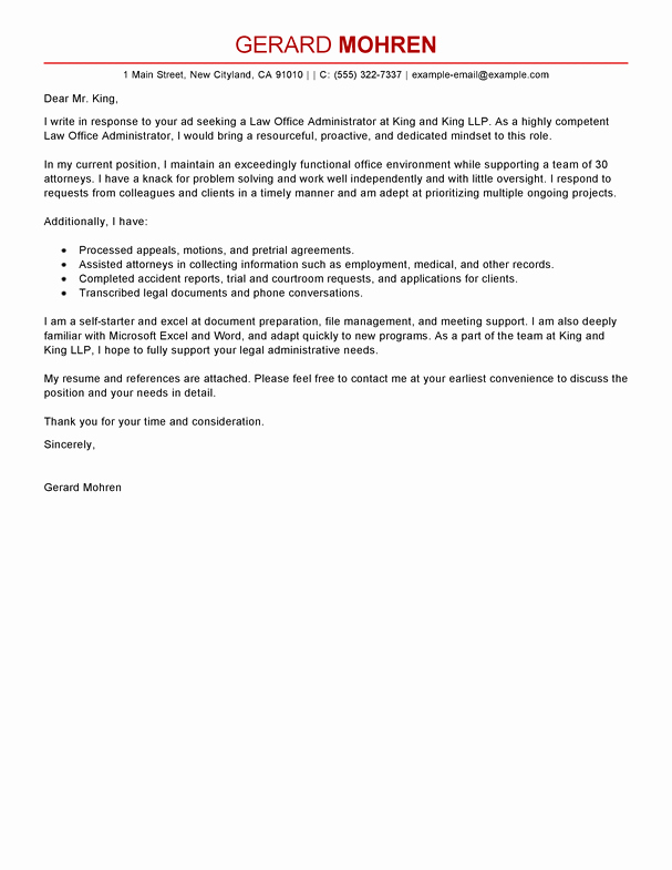 Sample Administrative Cover Letter Luxury Best Fice Administrator Cover Letter Examples