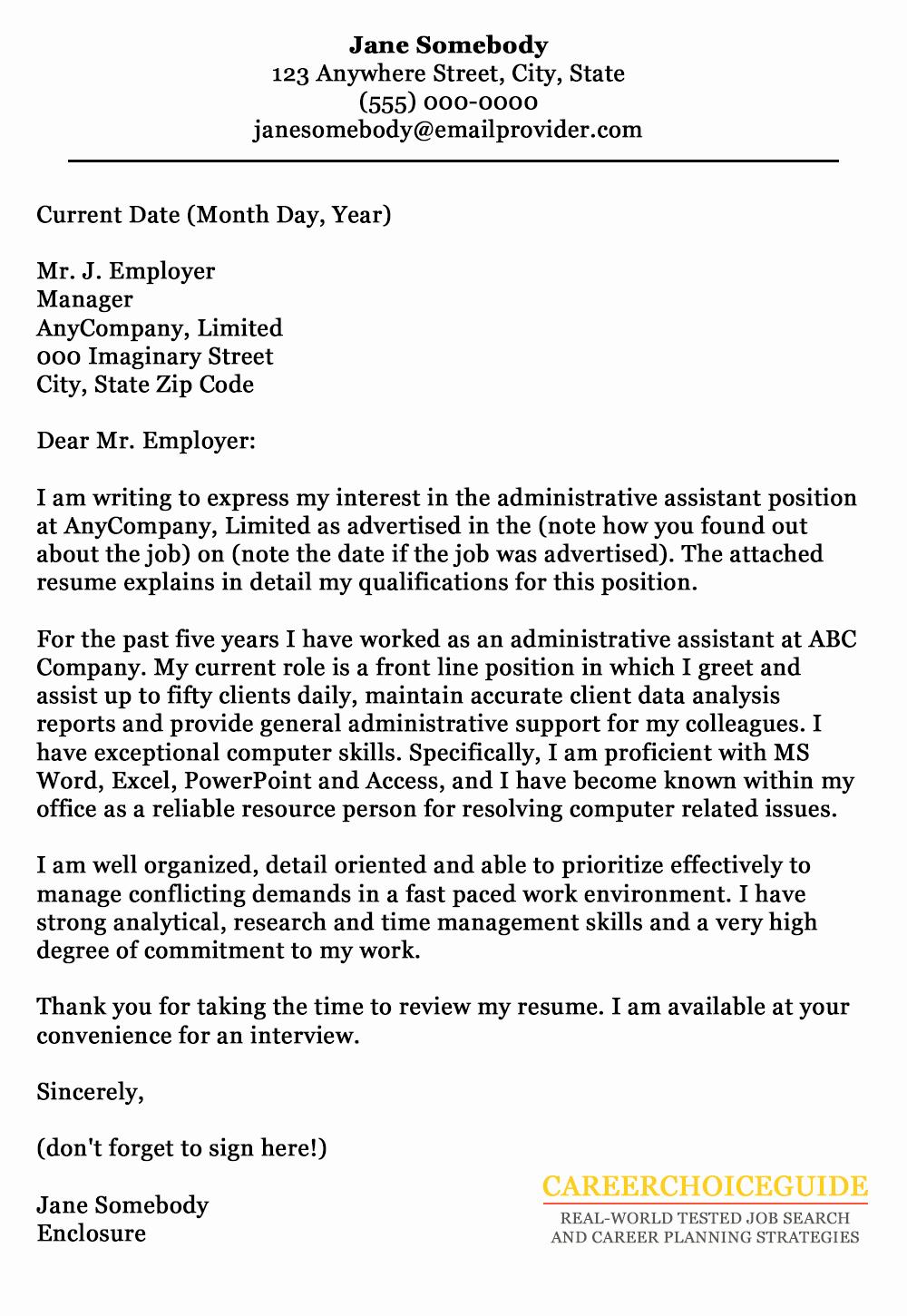 Sample Administrative Cover Letter Luxury Cover Letter Sample