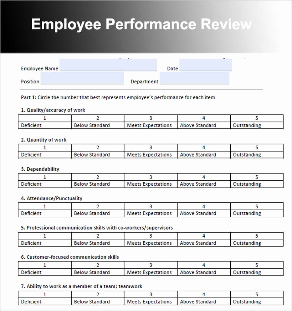 Sample Annual Performance Review Beautiful Employee Review Template