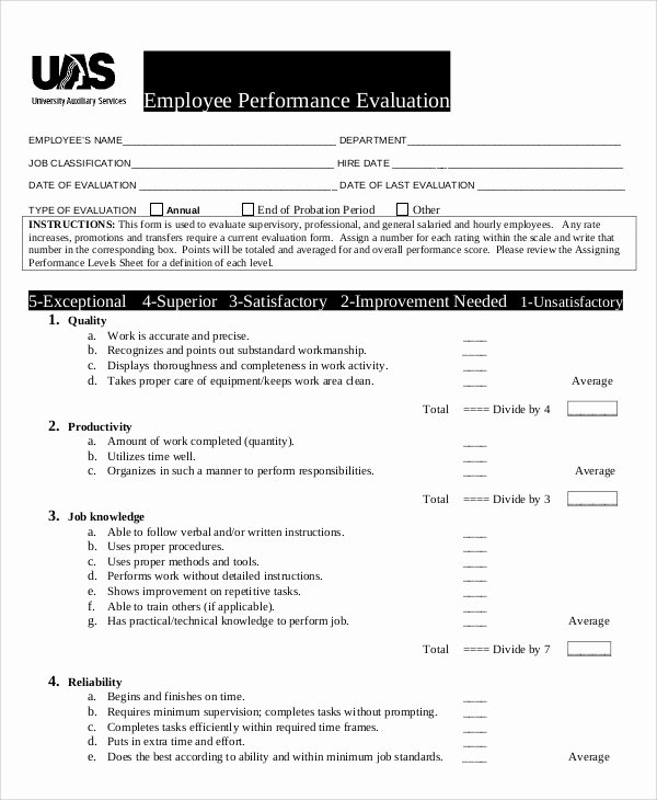 Sample Annual Performance Review Unique Performance Evaluation Samples and Templates 7