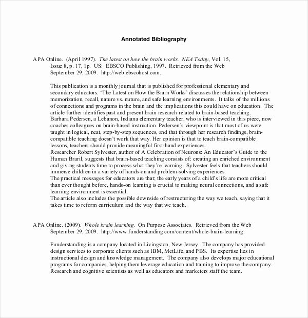 Sample Apa Annotated Bibliography Best Of Examples Of Annotated Bibliography Apa format