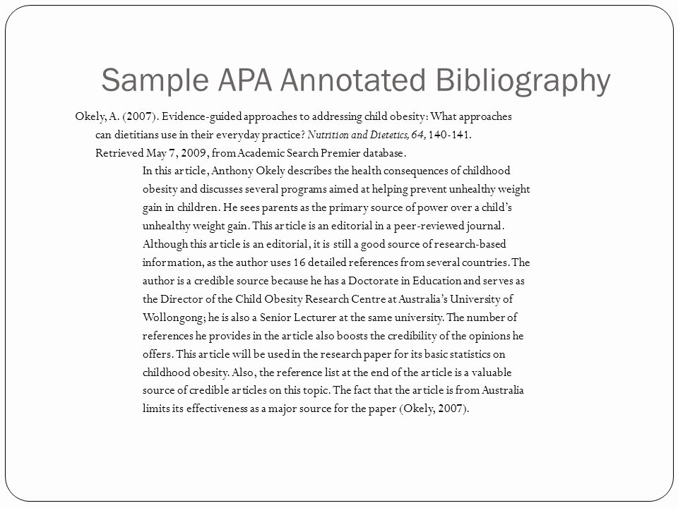 Sample Apa Annotated Bibliography Lovely Annotated Bibliography Example Apa Multiple Authors