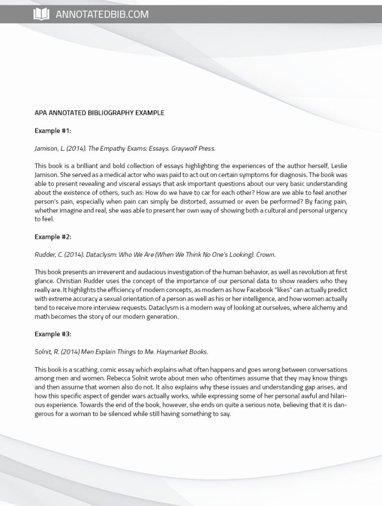 Sample Apa Annotated Bibliography Unique See Annotated Bibliography Sample Apa Here