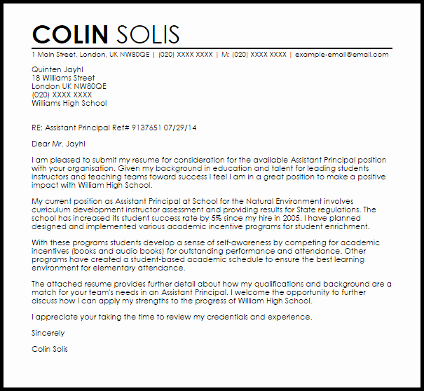 Sample assistant Principal Resume Awesome assistant Principal Cover Letter Sample