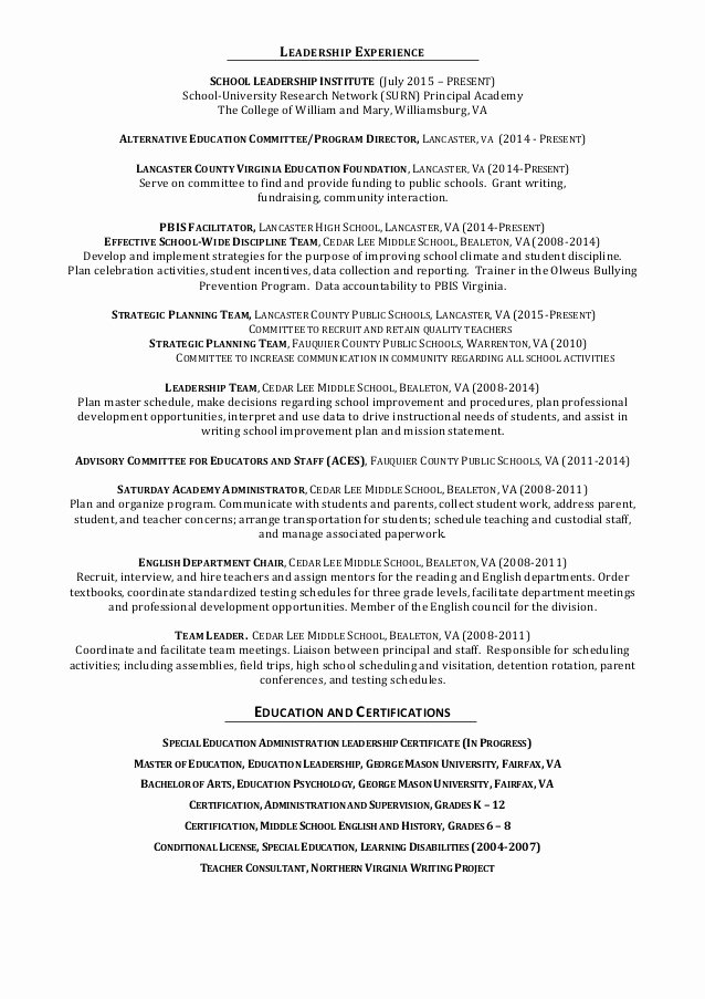 Sample assistant Principal Resume Best Of Bohannan assistant Principal Resume