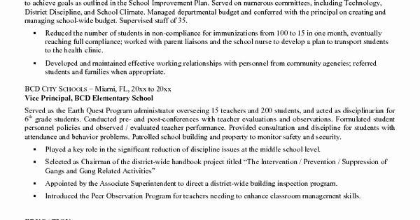Sample assistant Principal Resume Best Of Entry Level assistant Principal Resume Templates