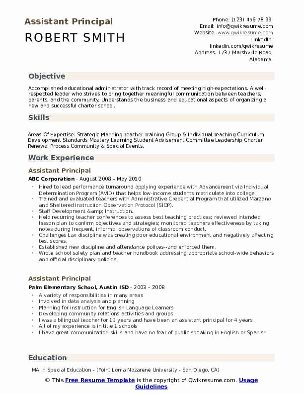 Sample assistant Principal Resume Fresh assistant Principal Resume Samples