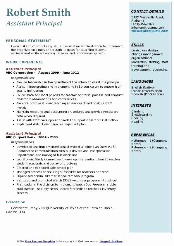 Sample assistant Principal Resume Fresh assistant Principal Resume Samples