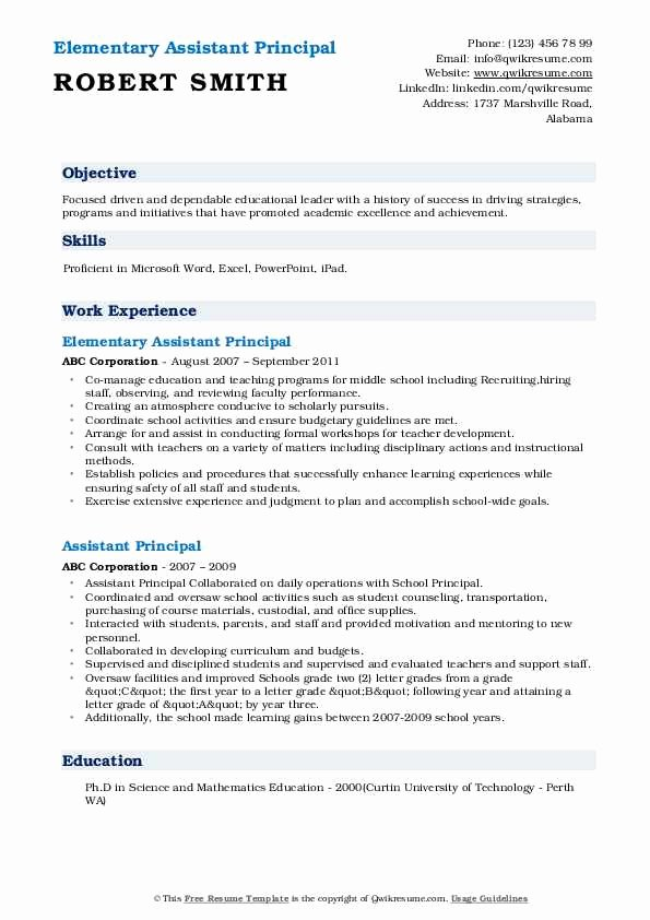 Sample assistant Principal Resume Inspirational assistant Principal Resume Samples