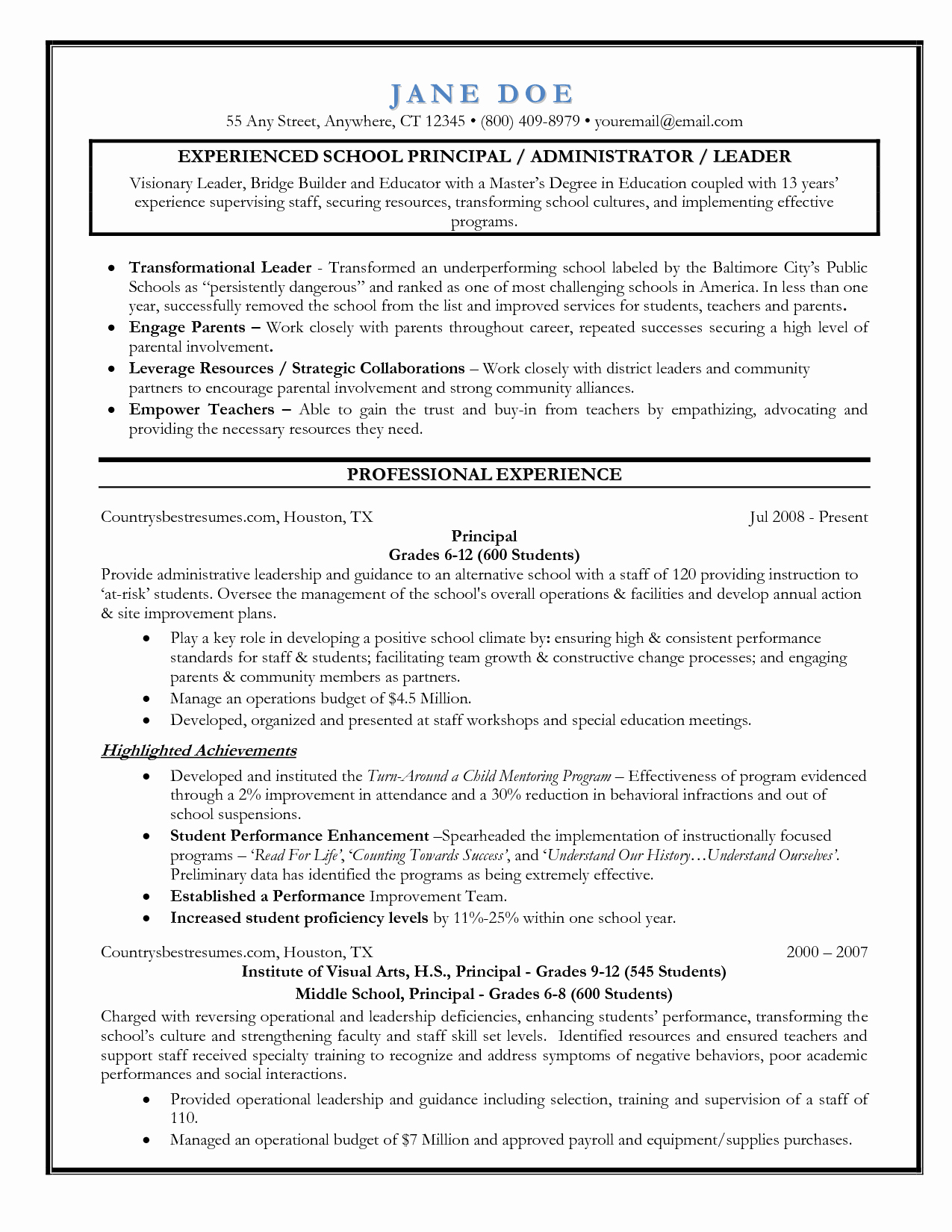 Sample assistant Principal Resume Lovely Entry Level assistant Principal Resume Templates