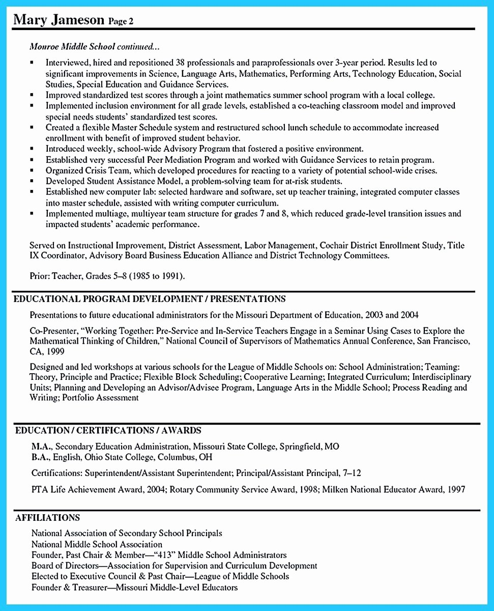 Sample assistant Principal Resume Luxury An Effective Sample Of assistant Principal Resume