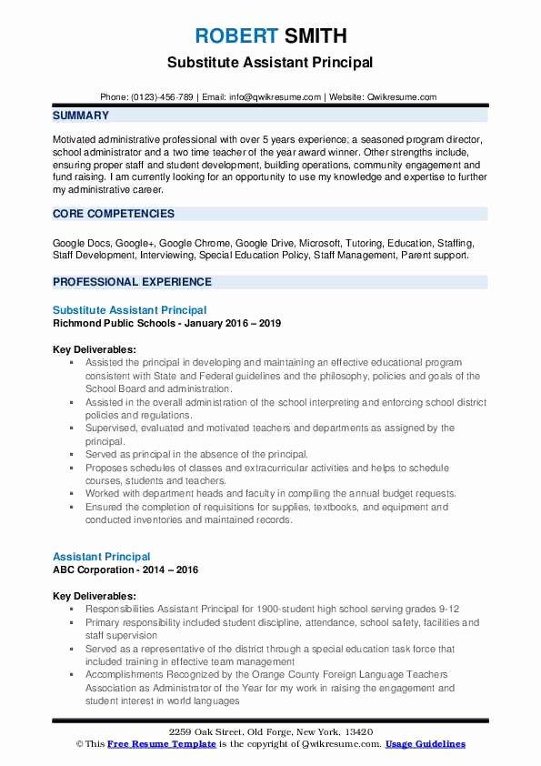 Sample assistant Principal Resume New assistant Principal Resume Samples