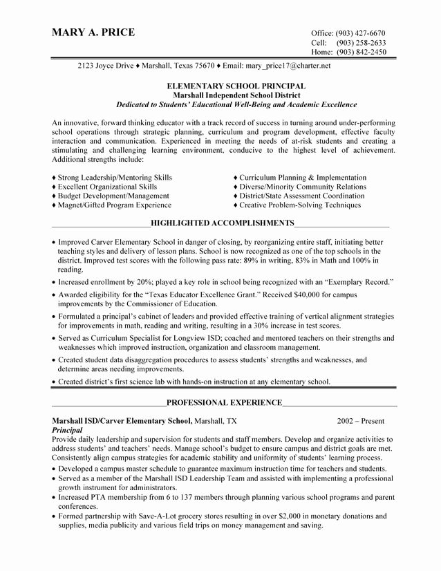 Sample assistant Principal Resume Unique Elementary School Principal 1 Image