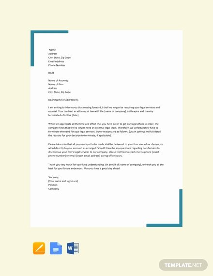 Sample attorney Termination Letter Beautiful Free attorney Termination Letter Template Word