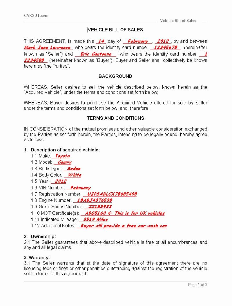 Sample Bill Of Sale Vehicle Beautiful Step 9 1 Vehicle Bill Of Sale Printable