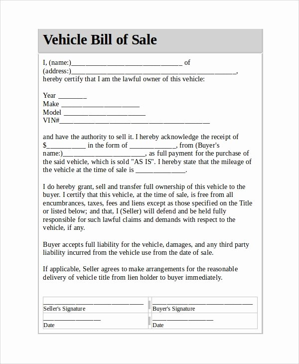 Sample Bill Of Sale Vehicle Fresh Sample Vehicle Bill Of Sale 7 Documents In Pdf Word