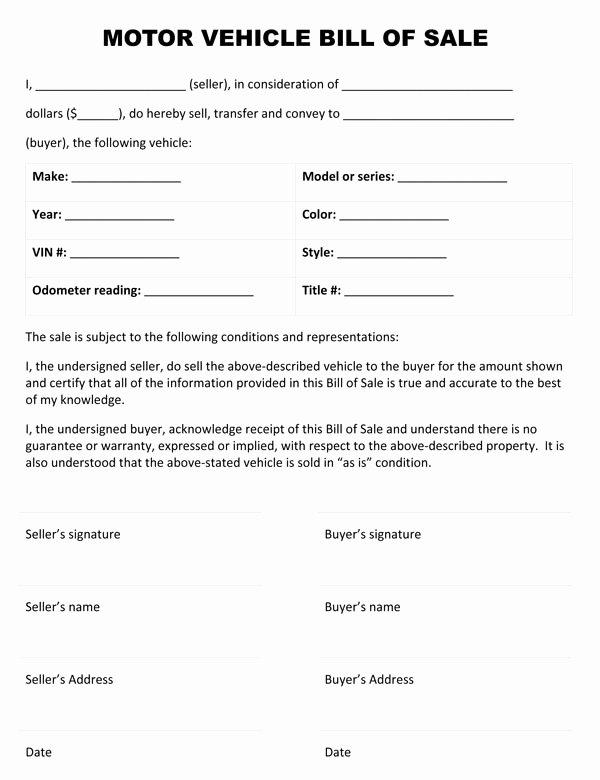 Sample Bill Of Sale Vehicle Luxury Free Printable Car Bill Of Sale form Generic