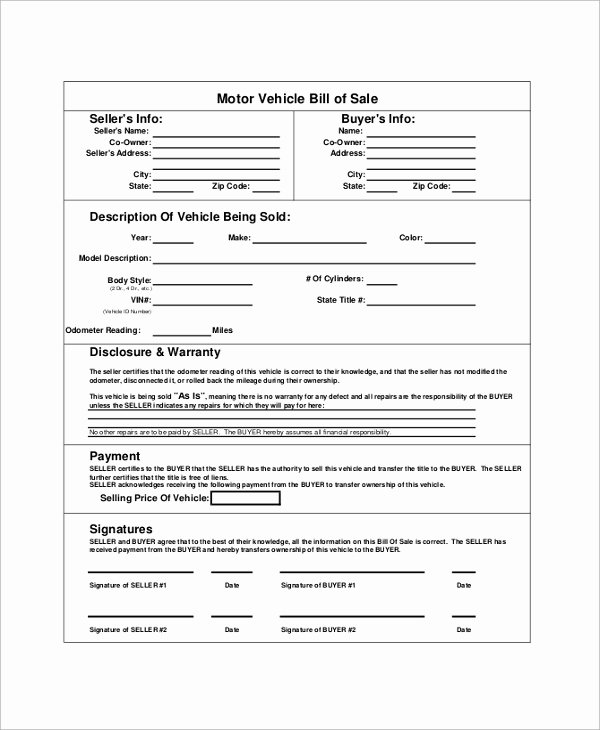 Sample Bill Of Sale Vehicle New Sample Blank Bill Of Sale 9 Examples In Pdf Word