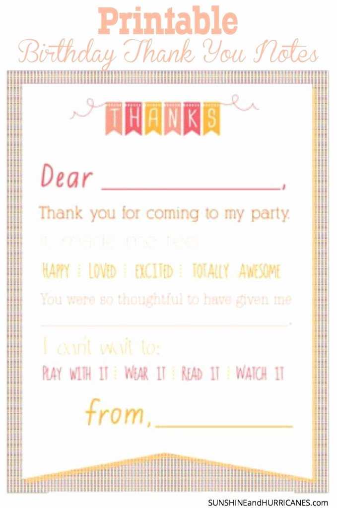 Sample Birthday Thank You Notes Best Of Printable Birthday Thank You Notes