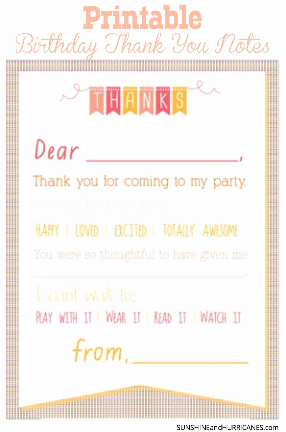 Sample Birthday Thank You Notes Lovely Printable Birthday Thank You Notes