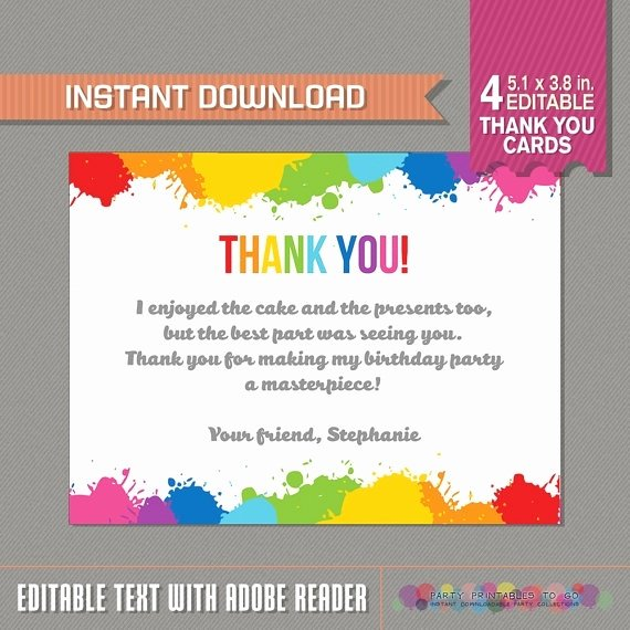 Sample Birthday Thank You Notes Lovely Thank You Note for Party