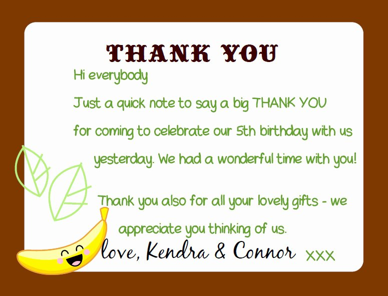 Sample Birthday Thank You Notes Luxury Kandcturn5 – 5th Birthday Monkey Party – Thank You Notes