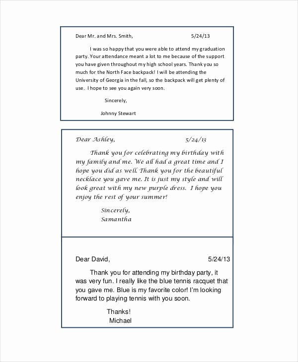 Sample Birthday Thank You Notes Unique 40 Free Note Templates