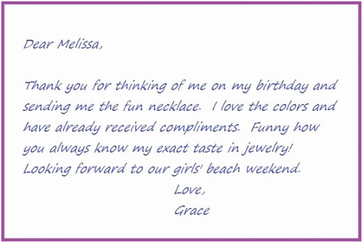 Sample Birthday Thank You Notes Unique Thank You Notes Samples and Tips