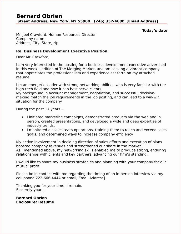 Sample Business Cover Letters Unique Cover Letter for Sales and Business Development Free