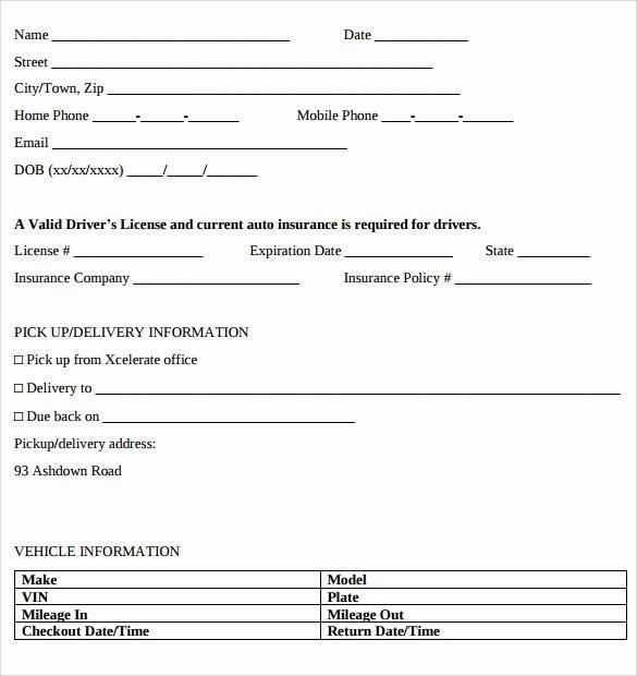 Sample Car Rental Agreements Beautiful Car Rental Agreement Templates 12 Free Documents In Pdf