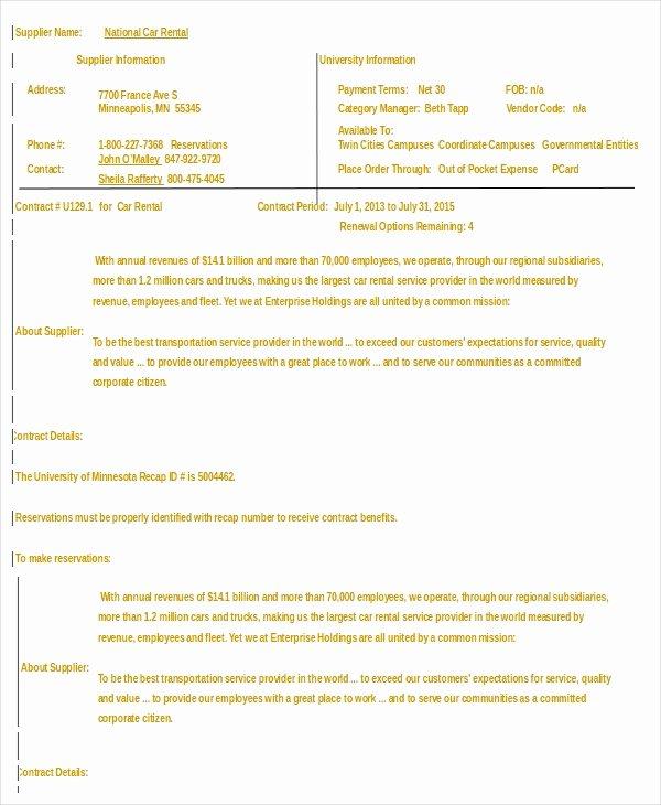 Sample Car Rental Agreements Best Of Car Rental Agreement 12 Free Word Pdf Documents