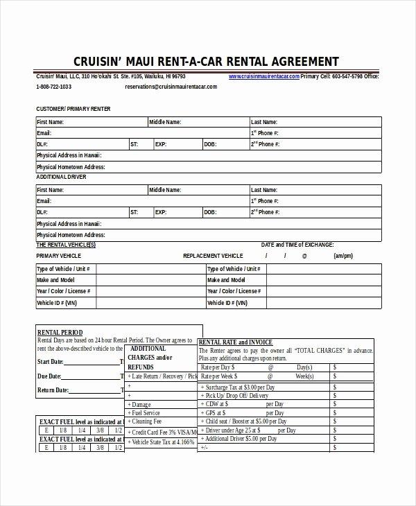 Sample Car Rental Agreements Fresh 18 Car Rental Agreement Templates Free Word Pdf Apple