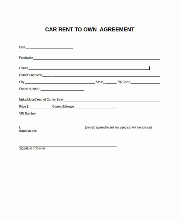 Sample Car Rental Agreements Fresh 8 Rent to Own Contract Samples & Templates Pdf Google Docs