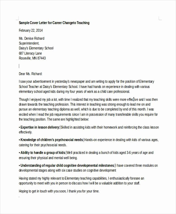 Sample Career Change Cover Letter Awesome Career Change Cover Letter
