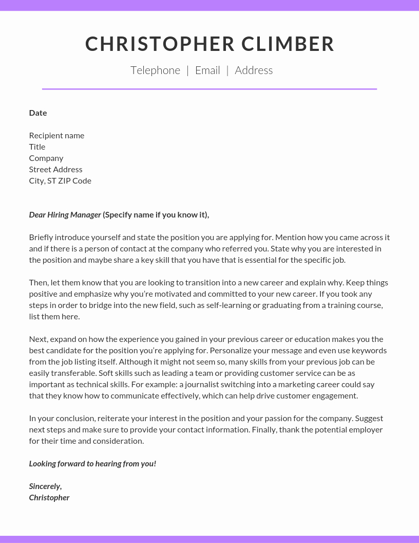 Sample Career Change Cover Letter Awesome How to Write A Career Change Cover Letter — Climb Credit Blog