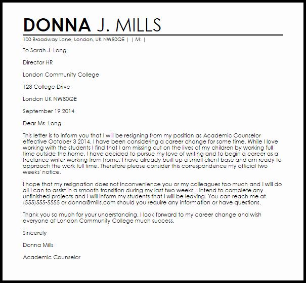 Sample Career Change Cover Letter Beautiful Career Change Resignation Letter Example